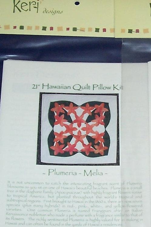 "Plumeria 21"" Hawaiian Quilt Pillow Pattern Keri Designs"