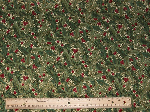 Hoffman Traditions Fabric #8843 Holly with Metallic Gold Fabric - See Specials