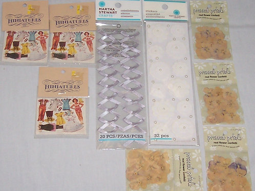 Martha Stewart Stickers Embellish Pressed Petals Confetti Miniatures Paper Dolls