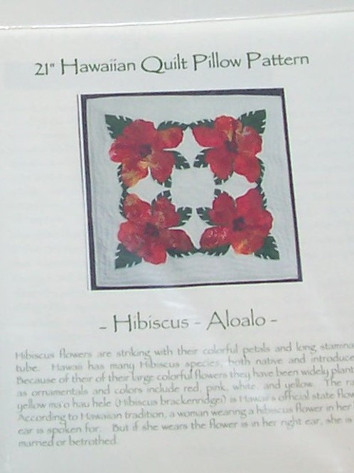 "Hibiscus 21"" Hawaiian Quilt Pillow Pattern Keri Designs"
