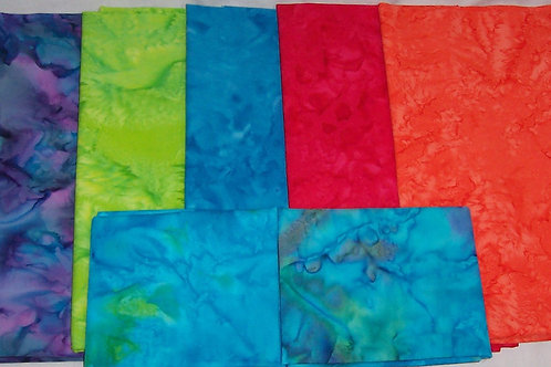 Batik Remnants Five 1/2 yard Pieces and Two Fat Quarters Pre-Washed