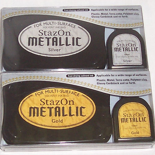 Tsukineko StazOn Metallic Solvent Ink Pad Stamp + Inker Gold and Silver