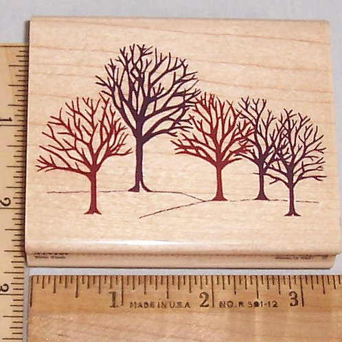 Wood Mounted Rubber Stamp Delta Rubber Stampede Winter Woods A2430F Trees