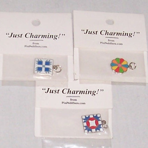 3 Pin Peddlers Just Charming Pins with Quilt Blocks Bear Claw Dresden Plate ++