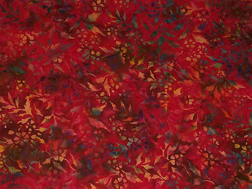 Batik Fabric Print Red with Leaves