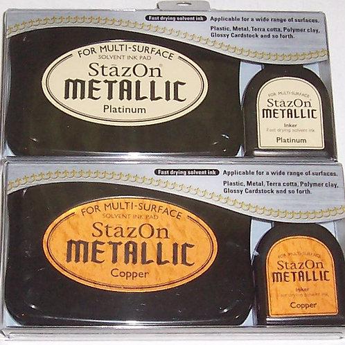 Tsukineko StazOn Metallic Solvent Ink Pad Stamp + Inker Refill Platinum, Copper