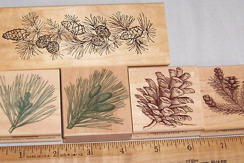 Wood Mounted Rubber Stamp Hero Arts Pine Needles and Cones 1 a Border