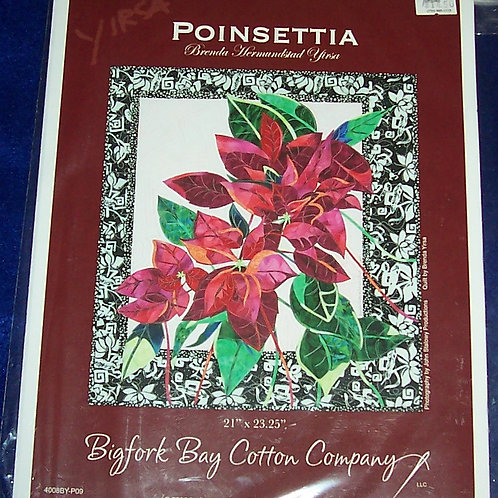 "Poinsettia Brenda Yirsa Pattern 21""X 23.25"" Bigfork Bay Cotton Company"