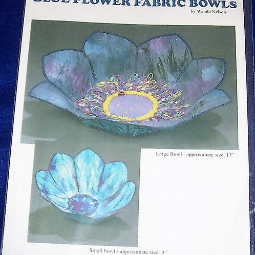 """Blue Flower Fabric Bowls Wanda Nelson Pattern Small 9"""" Large17"""""""