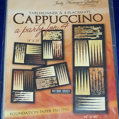 """Cappuccino A Party for 4 Judy Niemeyer Pattern Tablerunner 14""""X40"""" Placemats"""