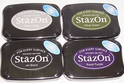 Tsukineko StazOn Solvent Ink Pad Stamp Black, Gray, Olive Green, Royal Purple