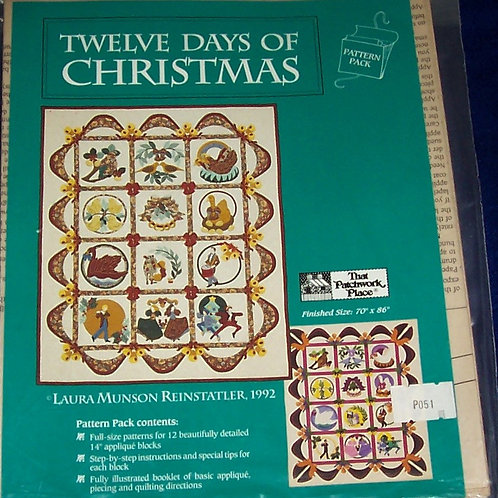 "Twelve Days of Christmas Laura Munson Reinstaltler Pattern 70""X 86"""