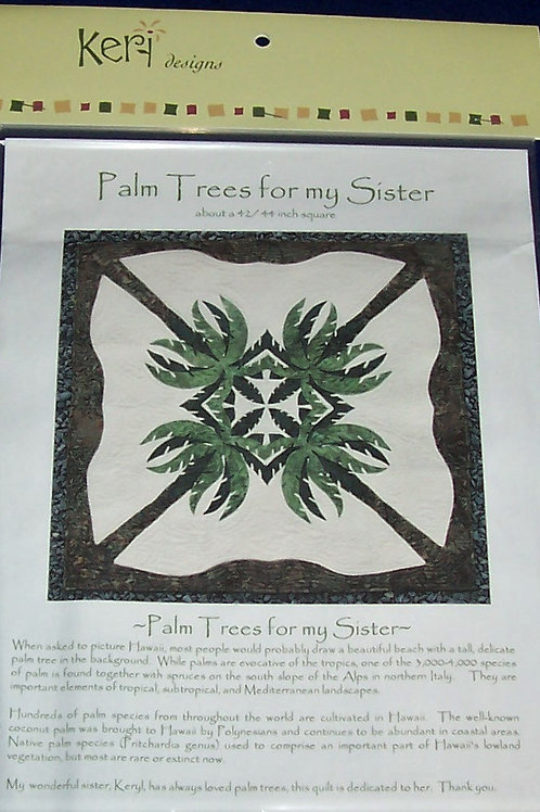 """Palm Trees for my Sister  Pattern Keri Designs About 42""""/44"""" Square"""