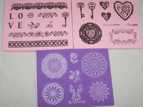 Lot of 28 Foam Mounted Rubber Stamps Various Heart Key Borders and More
