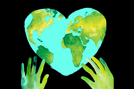Hands on a heart shaped world