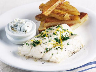 Healthy Eating- Healthy fish & chips with tartare sauce