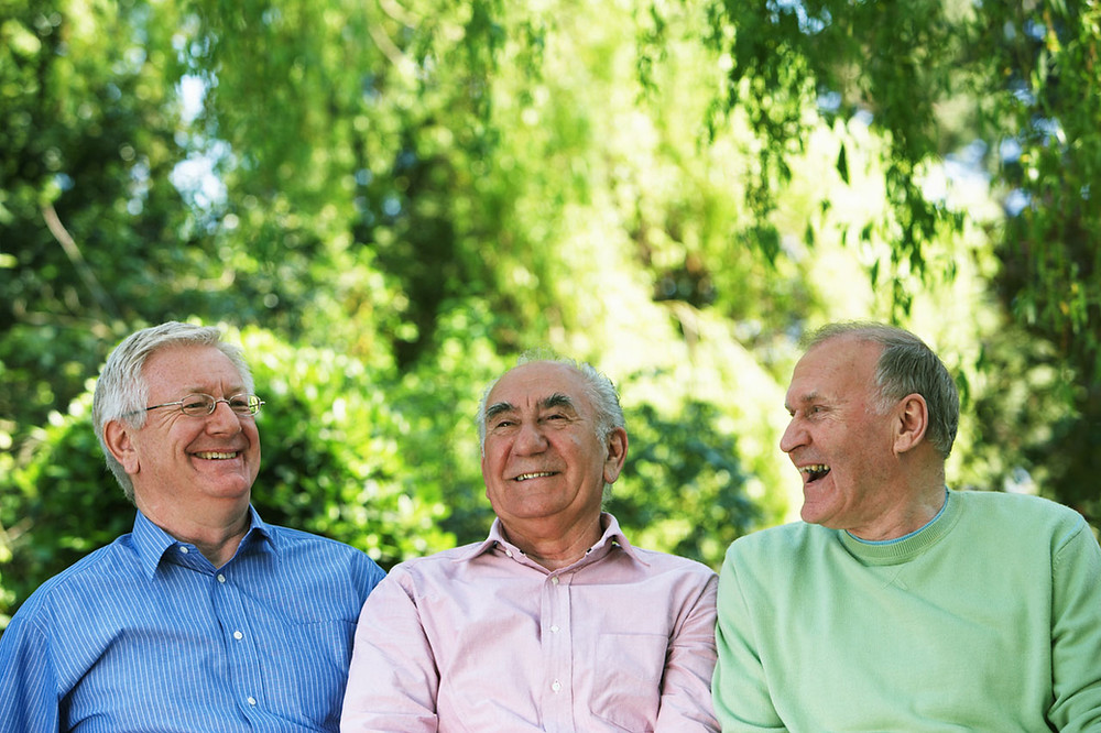 group of men laughing