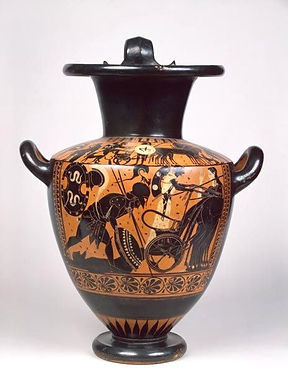 Achilles Drags Hector Black Figure Hydri