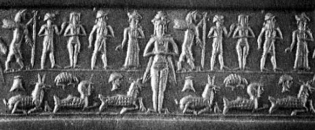 Inanna, wearing a multi-horned crown sta