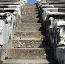 Asklepion, the stairs and seats of the ancient theater