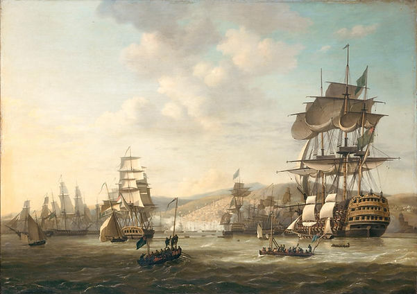 Painting of a fleet of ships in the Bay