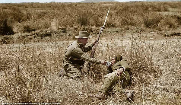 An Australian gives a drink to a wounded