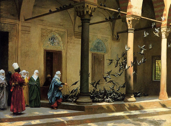 8-Harem-Women-Feeding-Pigeons-in-a-Court