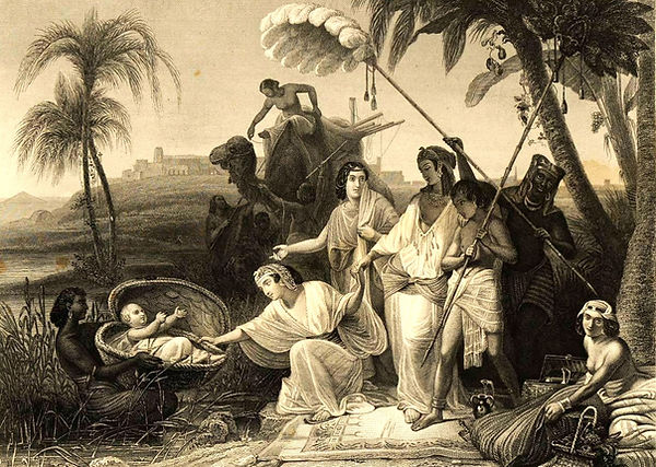 1849_Copper_Engraving_Moses_Baby_Nile_Sc