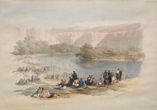 1839 Banks of the Jordan colour lithogra