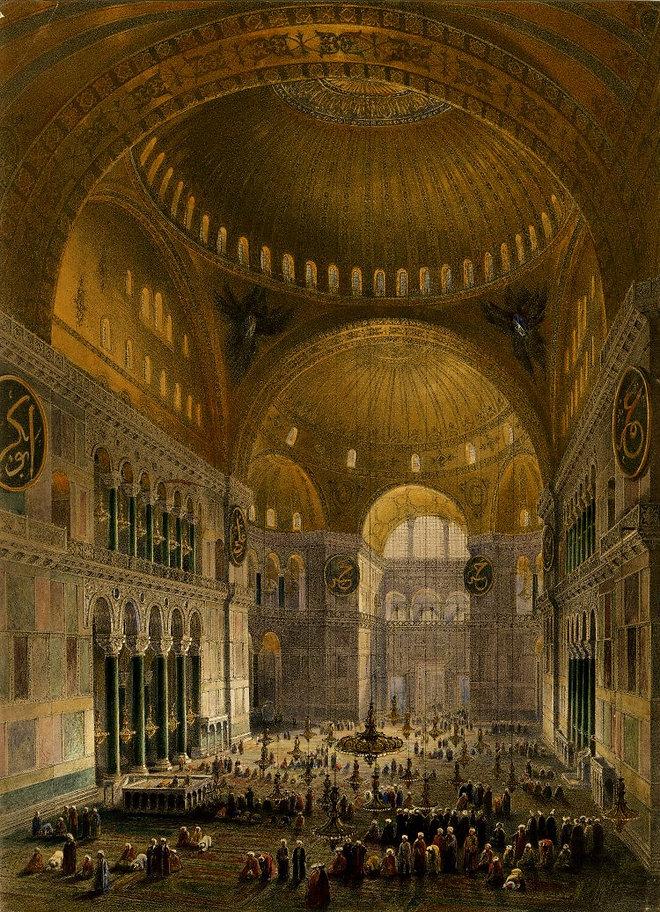 Interior view of the Hagia Sophia mosque