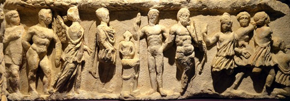 Original frieze slab from the Temple of Hadrian depicting a sacrifice in front of an altar