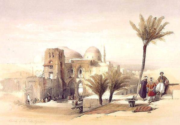 1839 Church of the Holy Sepulchre, Jerusalem colour lithograph