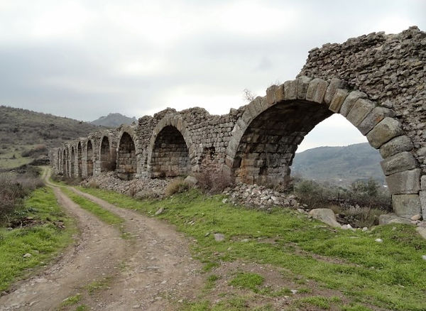 Ancient aqueducts in the walle below acropolis