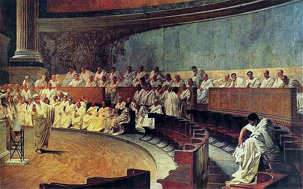 The Roman senator Cicero harangues his c