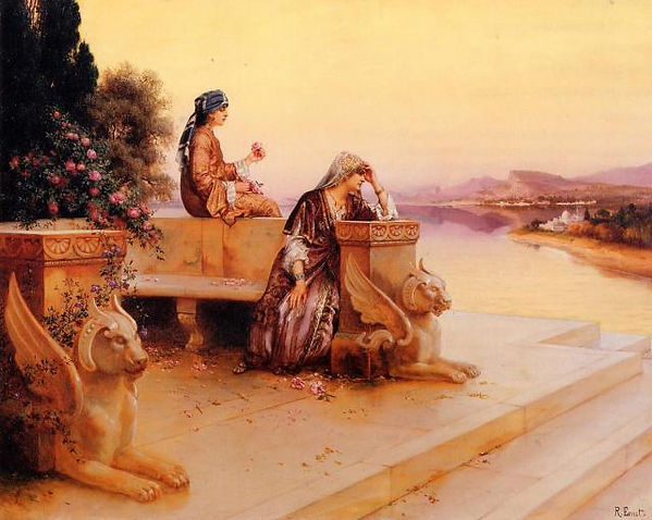 Elegant Arab Ladies on a Terrace at Suns
