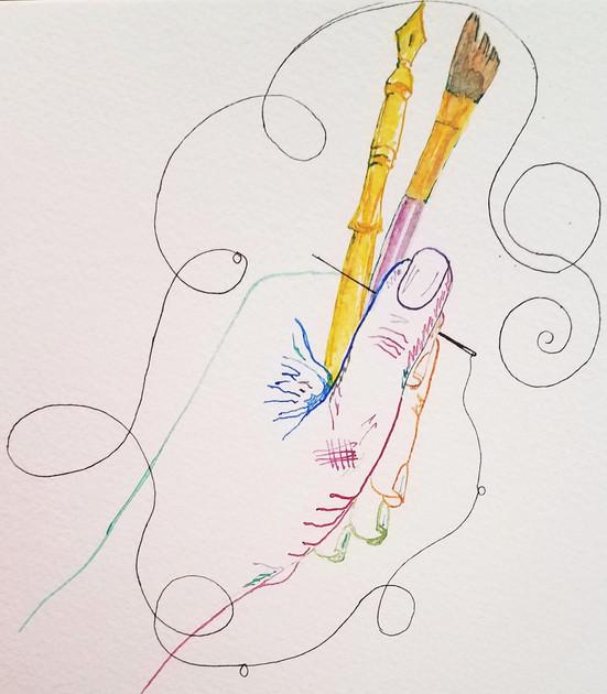 Artist Brushing