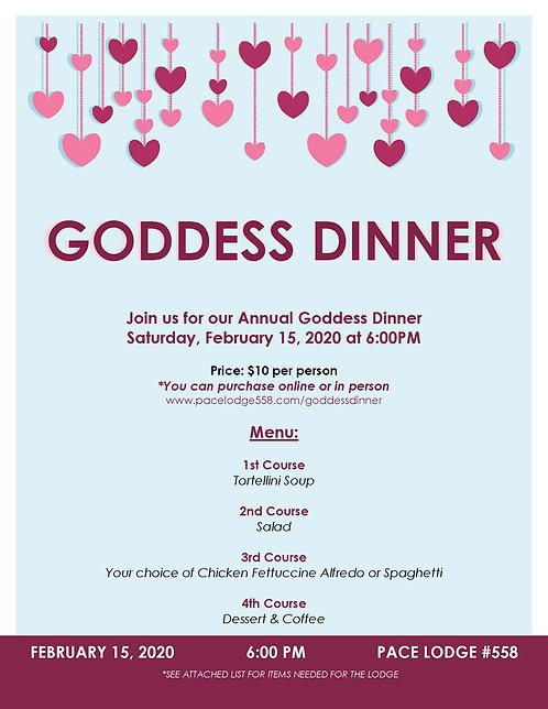 2020 GODDESS DINNER PLATES ($10pp)