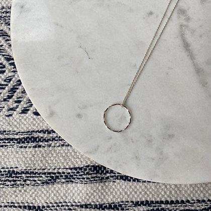 Długi naszyjnik z kółkiem srebro
