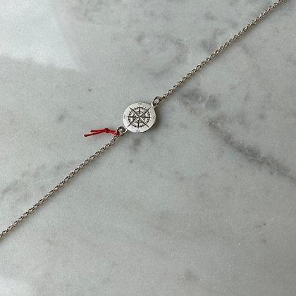 Srebrna bransoletka z łącznikiem róża wiatrów | rozm. M-L