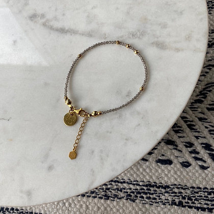 Bransoletka z kamienia księżycowego ze złotem | rozm. M-L