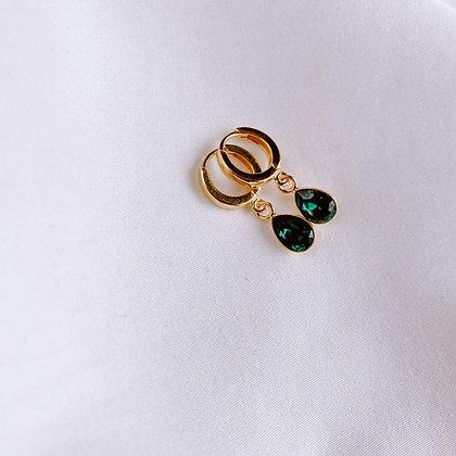 Kolczyki koła z zielonymi kryształami