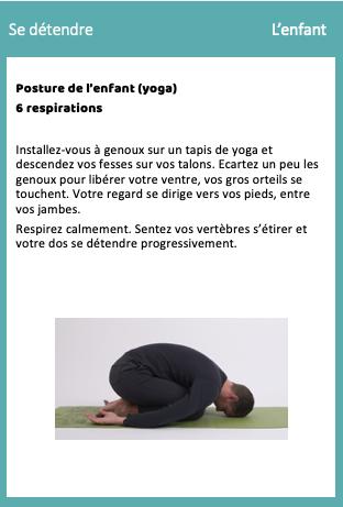 Relaxation posture de l'enfant