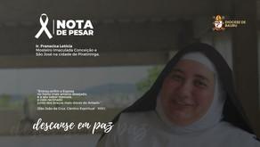 Nota de Pesar -  Ir. Francisca Letícia