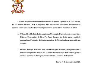 Atos do Governo Diocesano de 10 de dezembro de 2020.