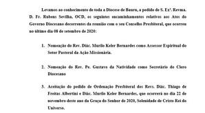 ATOS DO GOVERNO DIOCESANO - 10 DE SETEMBRO DE 2020