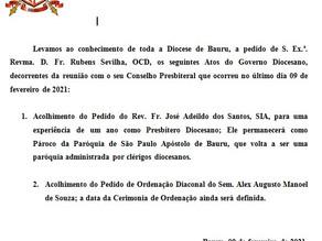 Atos do Governo Diocesano de 17 de fevereiro de 2021.