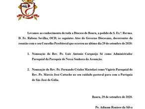 ATOS DO GOVERNO DIOCESANO DE 29 DE SETEMBRO DE 2020.