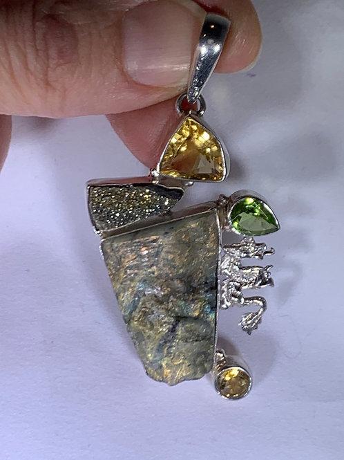 Labradorite, Citrine, Peridot, Pyrite, Dragon Pendant (LF4)