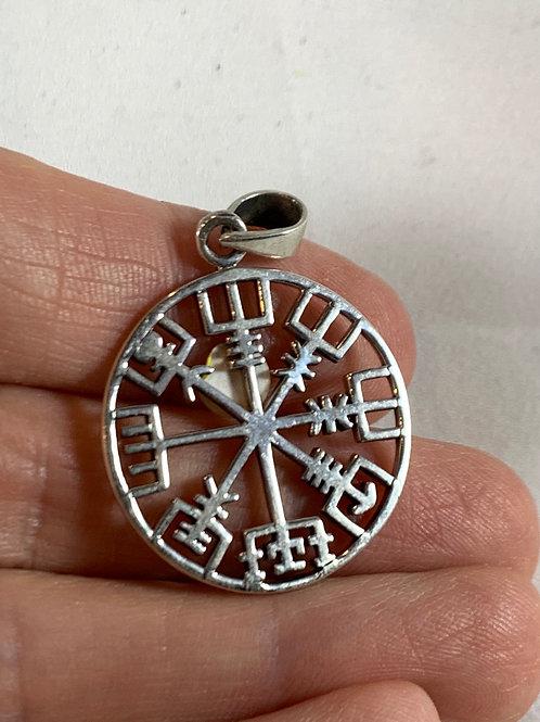 Vegvasir Pendant (runic compass, sterling silver)