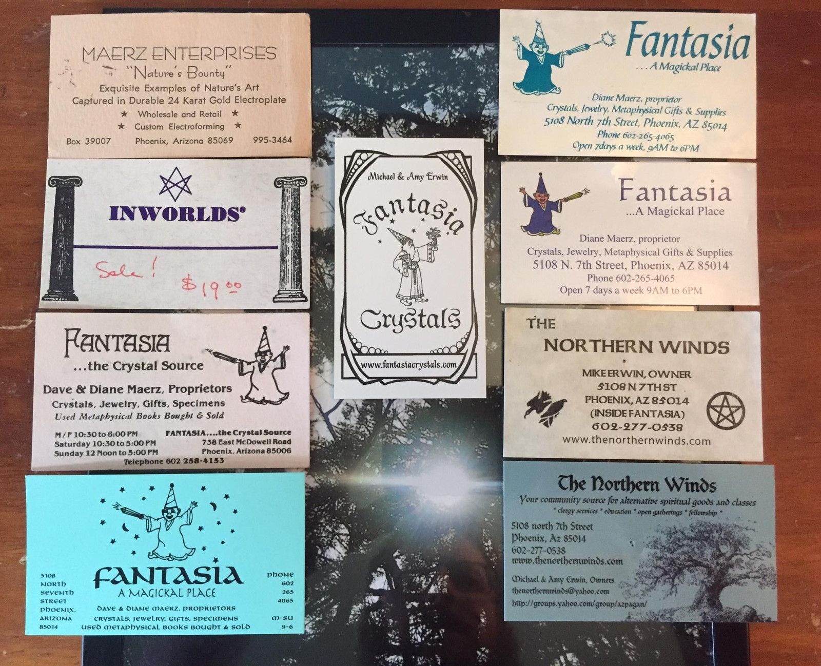Business cards from times past | Fantasia Crystals | Phoenix, AZ ...